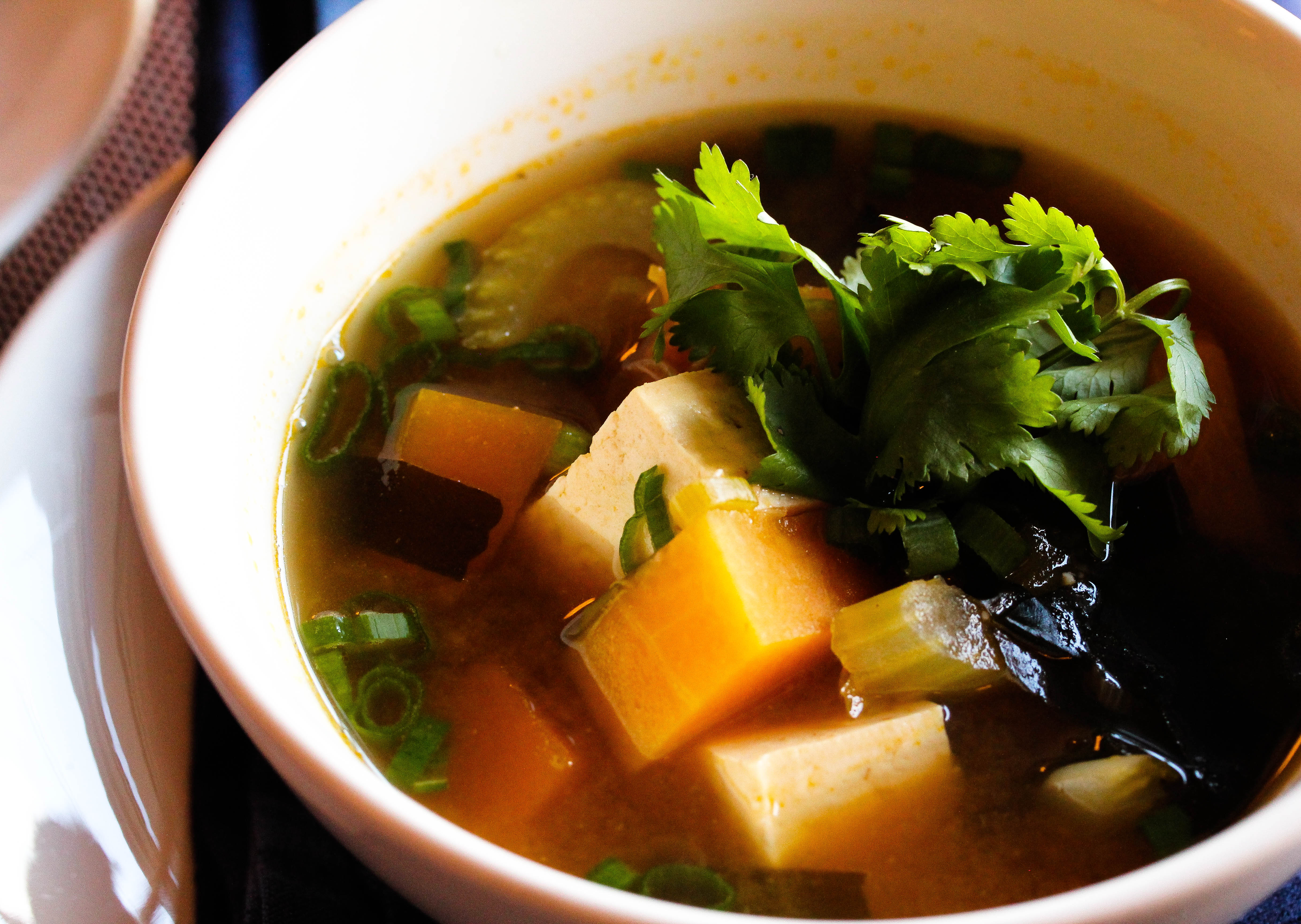 Vegan Pumpkin Miso Soup with seaweed and tofu