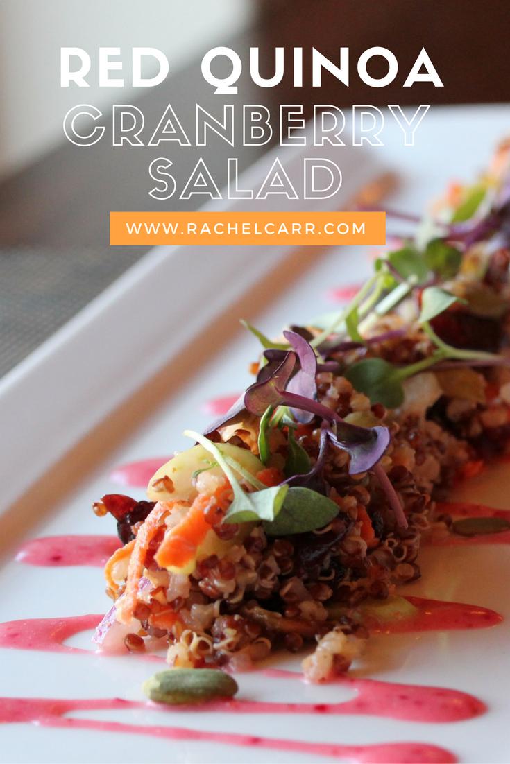 Red Quinoa Cranberry Salad with cranberry vinaigrette, toasted pumpkin seeds and kumquats