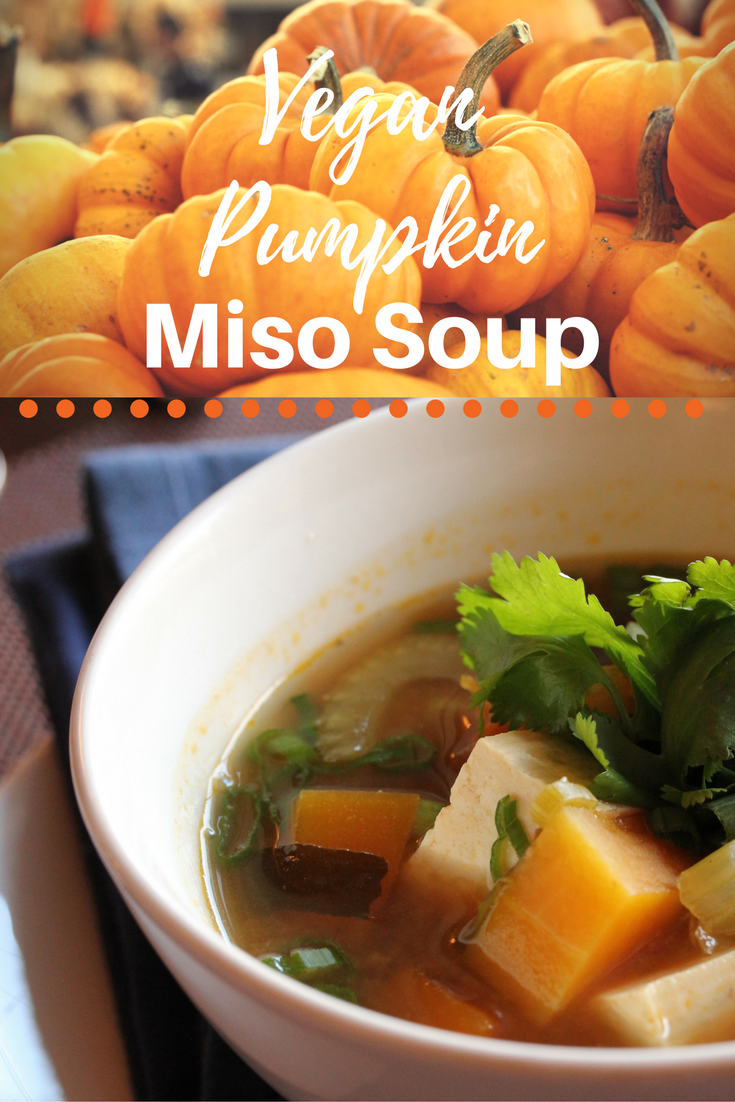 Vegan Pumpkin Miso Soup with tofu and seaweed