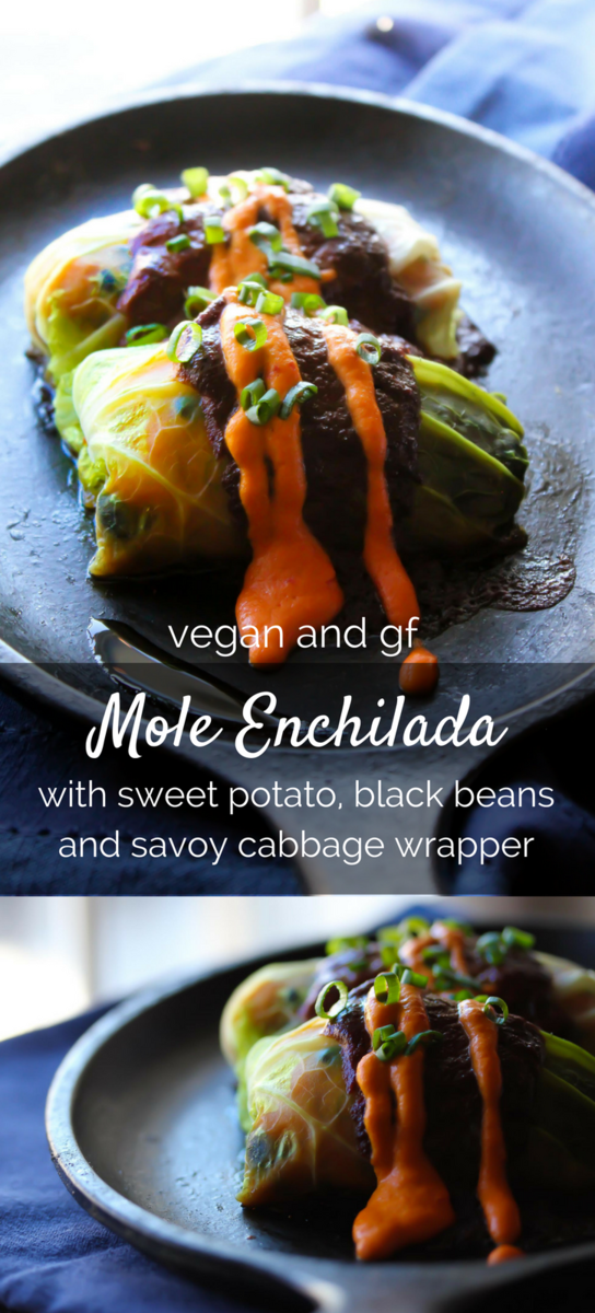 A vegan and gluten free Mole Enchilada stuffed with sweet potato and black beans, wrapped in a savoy cabbage leaf!