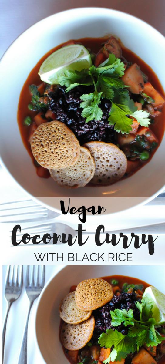 Vegan Sweet Potato Curry with black forbidden rice and mini dosas -a wonderfully healthy and hearty winter meal!