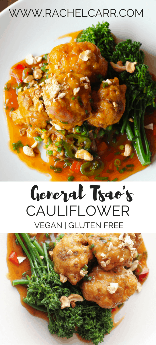 Vegan General Tsao's Cauliflower has a delicious sauce, crispy cauliflower and healthy steamed broccoli