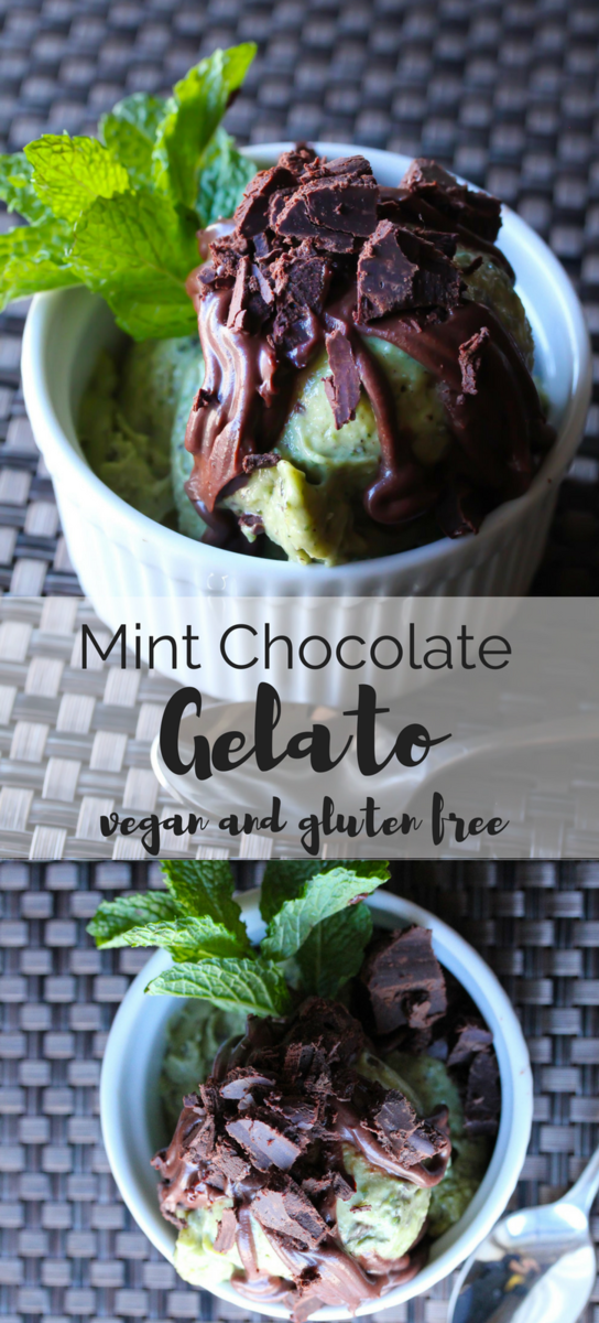 An easy, creamy and healthy raw vegan gelato with chunks of rich chocolate and a rich dairy free chocolate sauce.