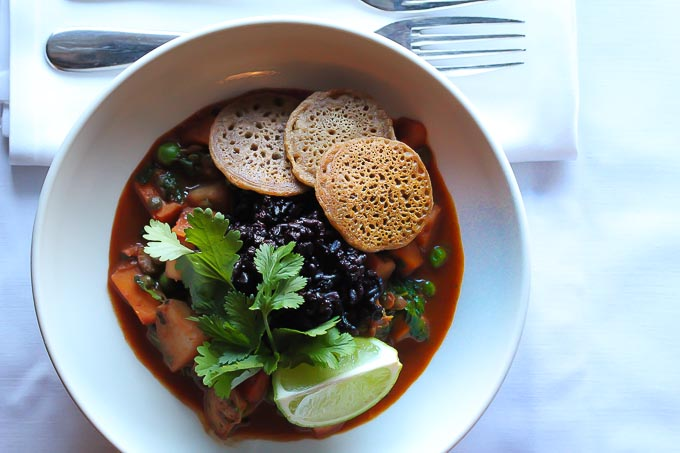 Vegan Sweet Potato Curry with black forbidden rice and mini dosas -a wonderfully healthy and hearty winter