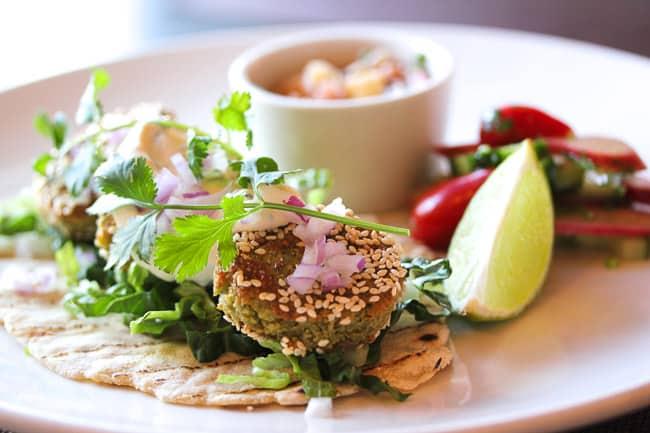 Falafel with Rhubarb Chutney