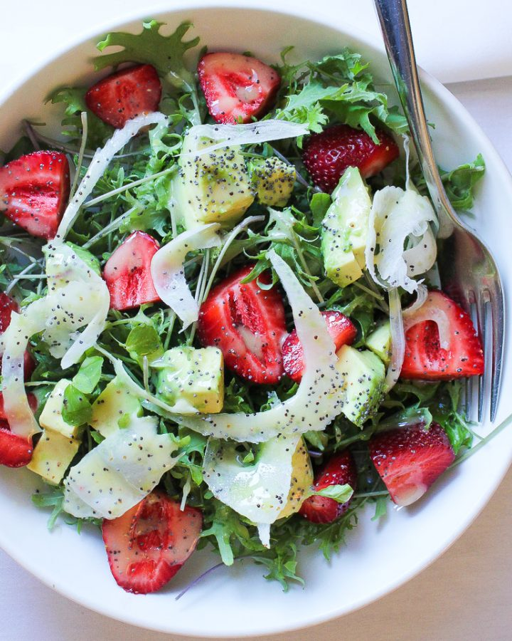 Strawberry Avocado Fennel Salad with lemon poppy seed dressing