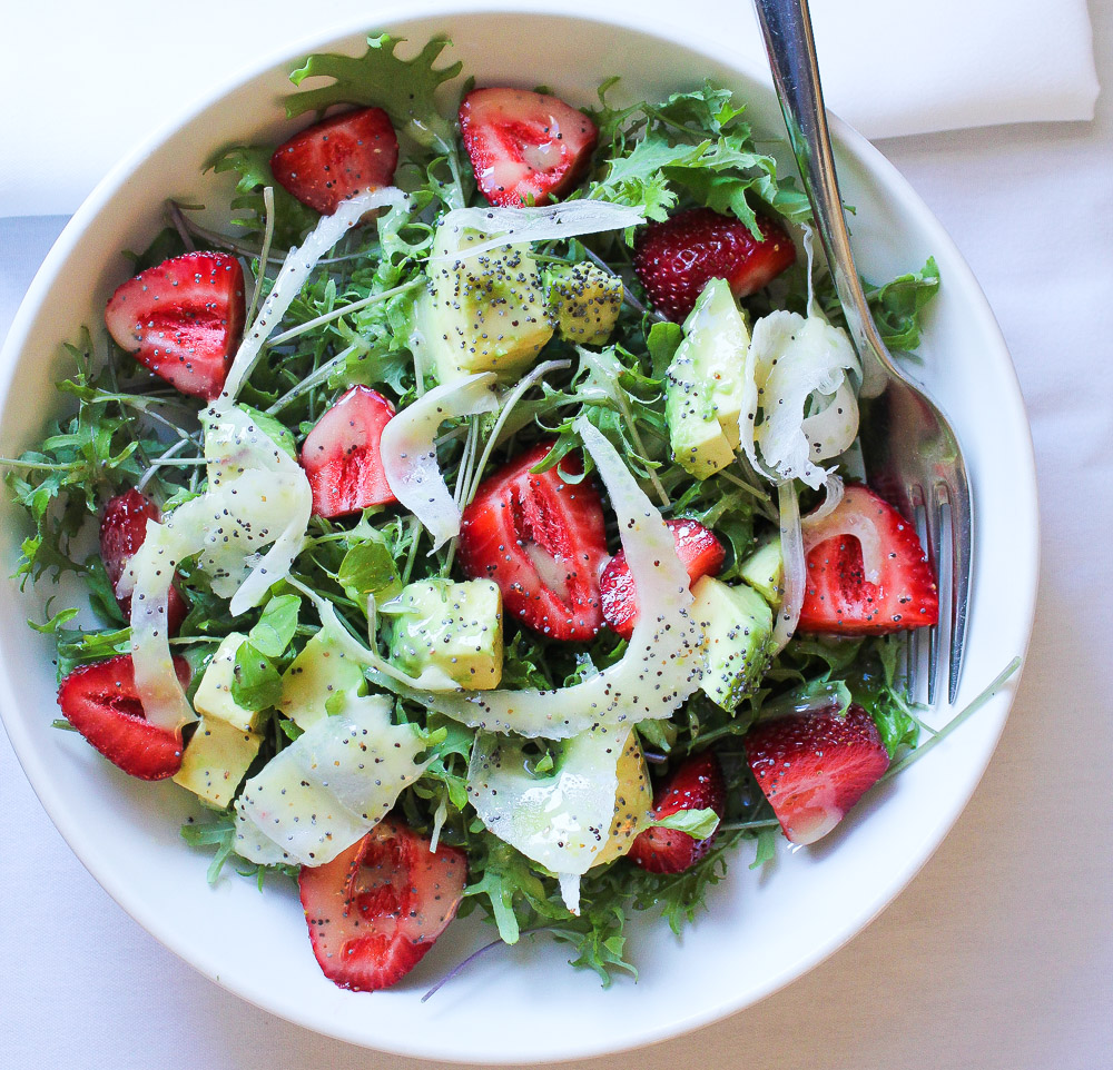 Strawberry Avocado Salad With Lemon Poppy Dressing