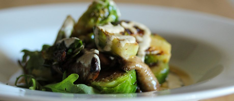 Pan Seared Brussels Sprouts and Shiitakes