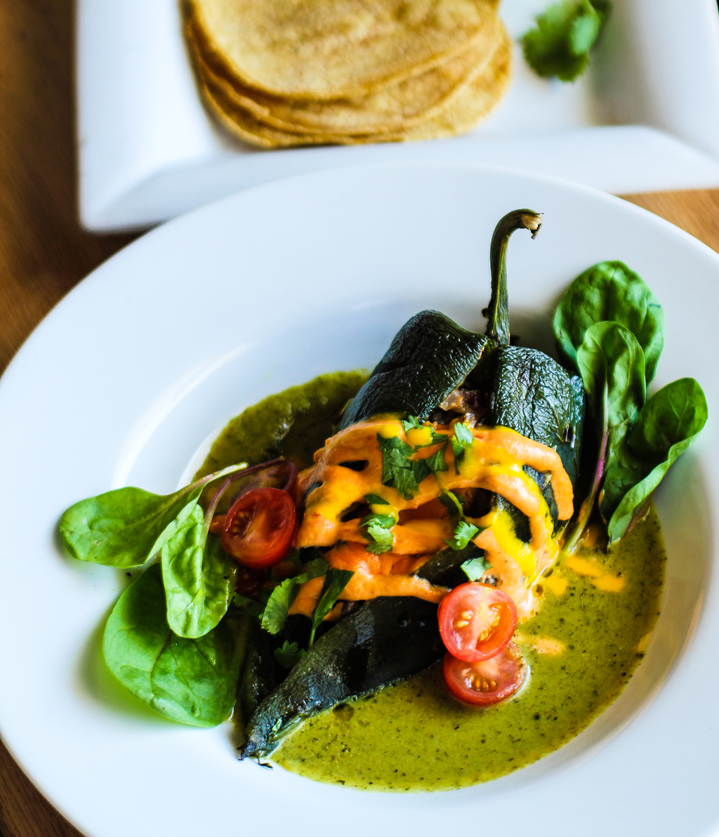 Chiles Rellenos with lentils and new potato