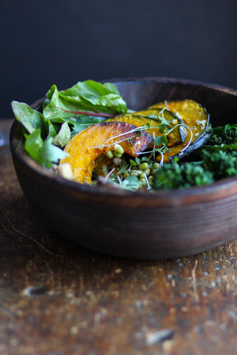 Roasted Squash Bowl with Mung Bean Sprouts