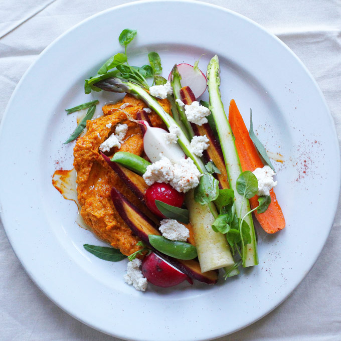 Roasted Carrot Hummus with spring vegetable crudité-a super healthy snack packed with vitamins and fiber!