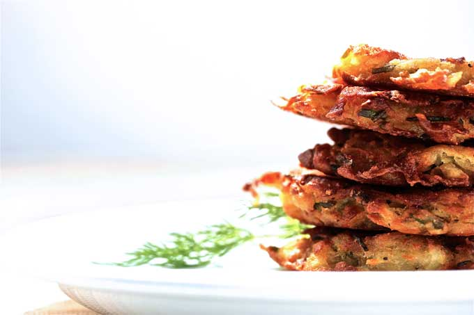 GF and Vegan Sweet Potato Pancakes with  sauteed apples and pumpkinseed pesto