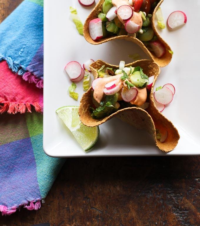 Mini Taco Salad Bowls with chile cashew crema