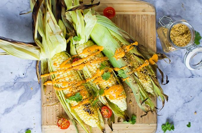 Grilled Street Corn with Aji Amarillo Queso