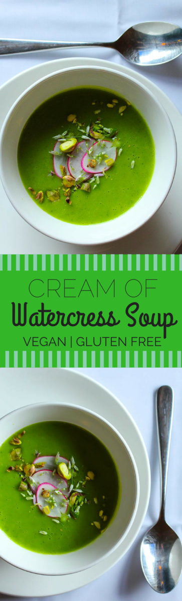 Vegan Cream of Watercress Soup , with a hint of white wine. Full of vitamins and minerals, this healthy creamy soup is dairy free and gluten free.