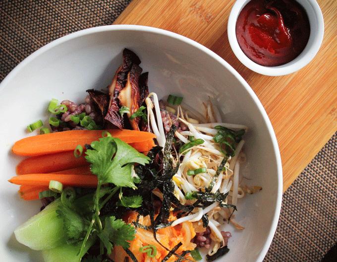 Vegan Mushroom Bibimbop with homemade kimchee