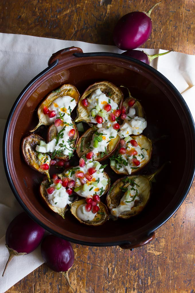 Roasted baby eggplant with cashew yogurt, mint and chili oil