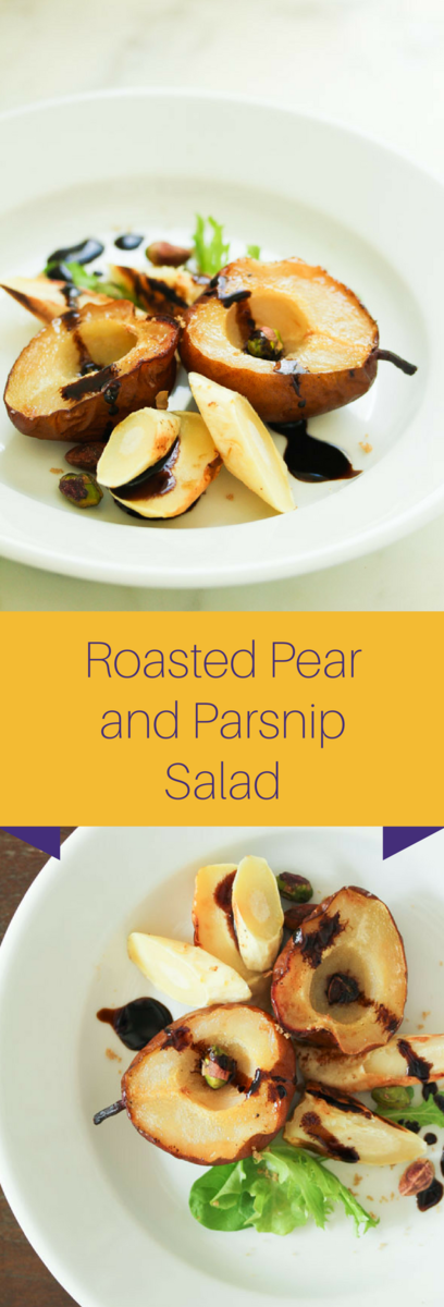 Roasted Pear and Parsnip Salad with balsamic glaze-vegan and gluten-free!
