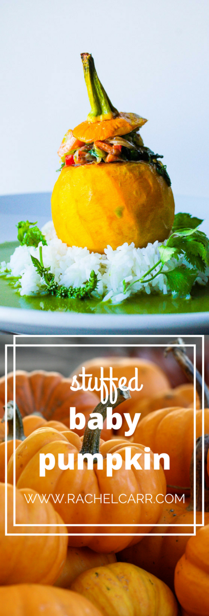 Baby Pumpkin stuffed with green thai curry vegetables on top of Jasmine rice