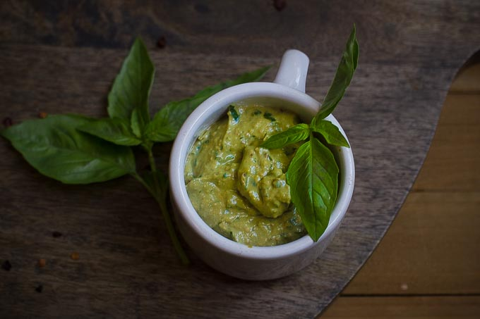 Vegan Avocado Pesto-oil free and made with just a few ingredients