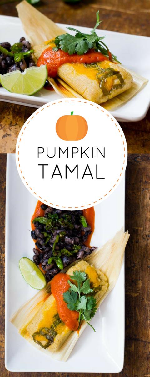 Vegan Pumpkin Tamale with shishito pepper and bell pepper/pumpkin sauce