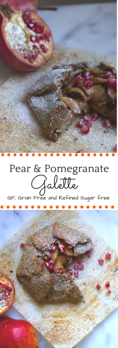 This amazingly healthy and easy dessert features pear and pomegranate. It's completely grain-free, paleo and vegan!