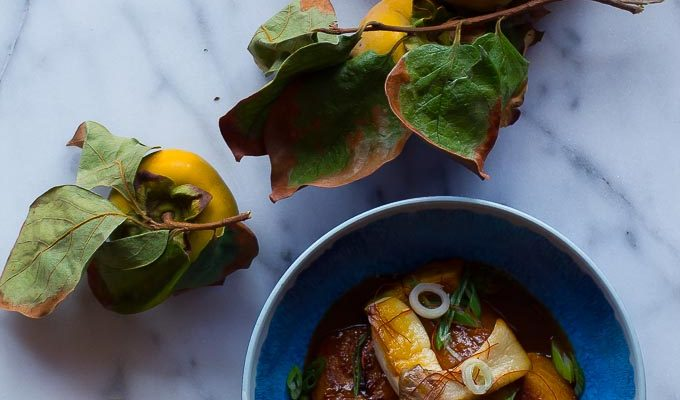 Sake Braised Persimmons + Oyster Mushrooms-a savory vegan take on a quintessential fall fruit