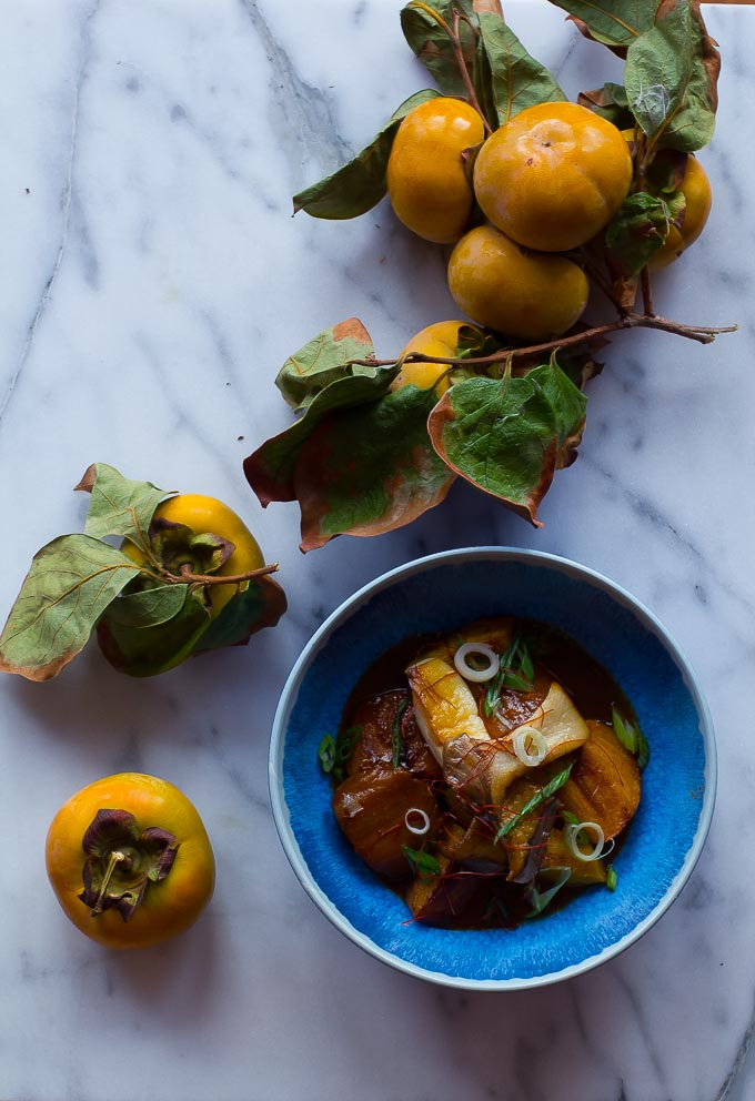 Braised Persimmons + Oyster Mushrooms