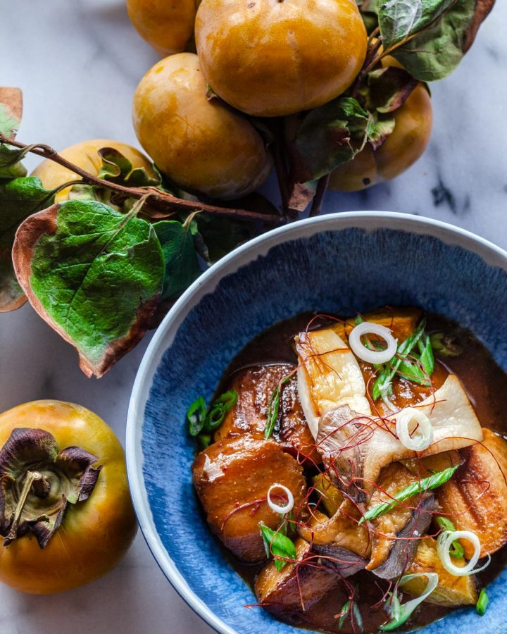 Braised Persimmons and Oyster Mushrooms with miso sake glaze