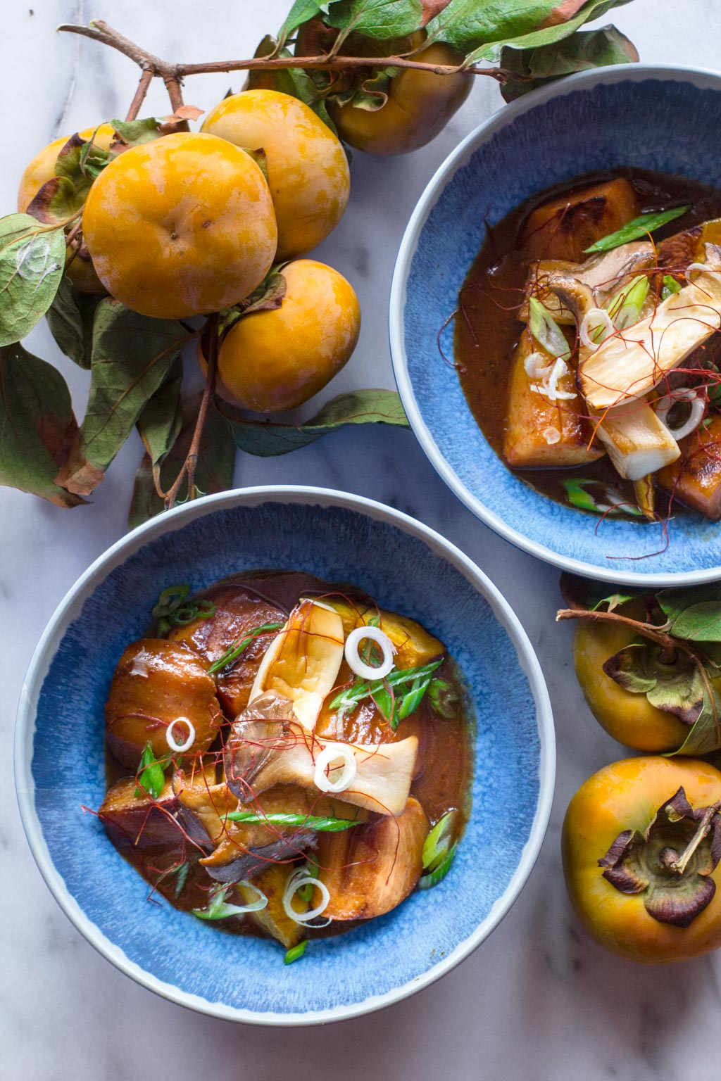 Braised Persimmon and Oyster Mushrooms with miso sake glaze