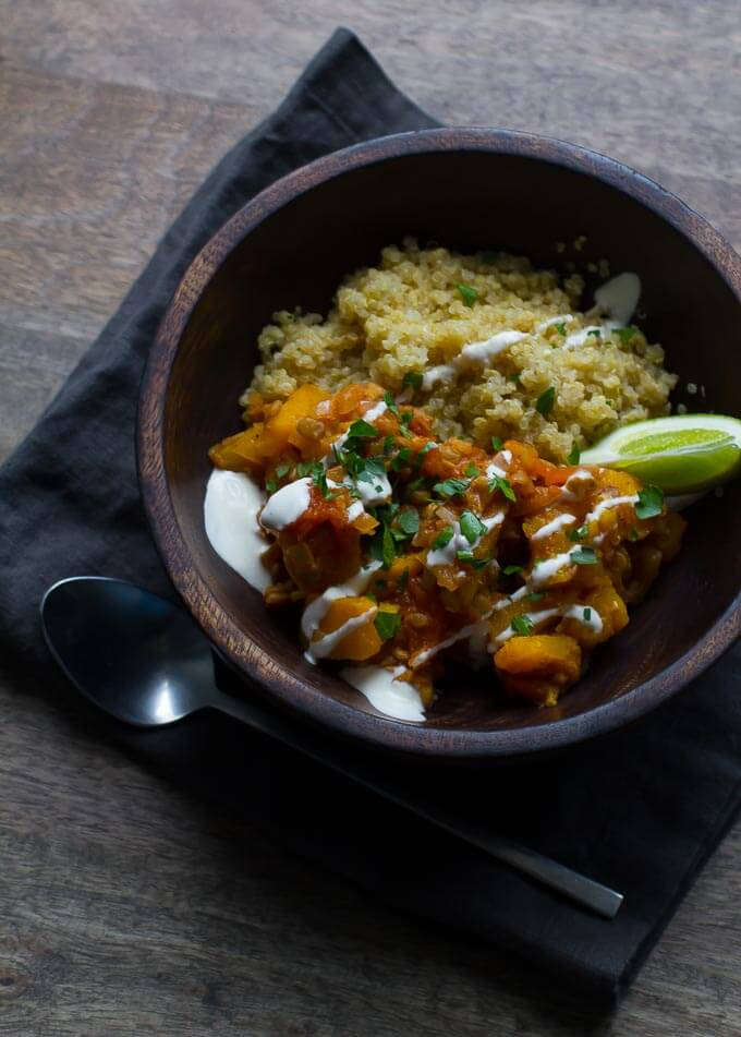 Afghan stew with pumpkin and lentils