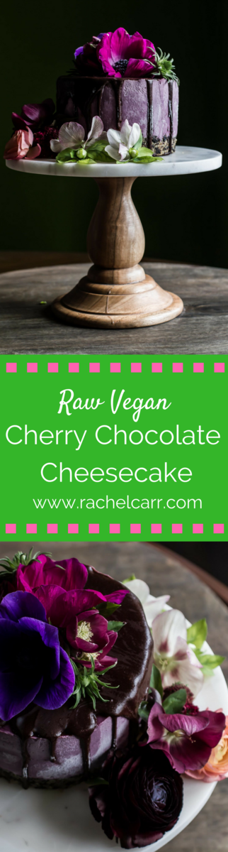 Raw Vegan Cherry Chocolate Cheesecake with a rich dark chocolate glaze