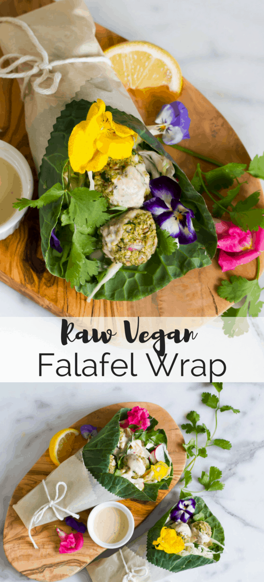 Raw vegan falafel wrapped in collard greens with a bright citrus tahini sauce