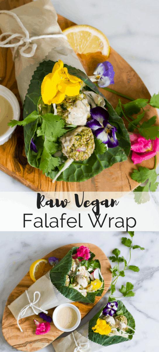 Raw vegan falafel wrapped in collard greens with a bright citrus tahini sauce