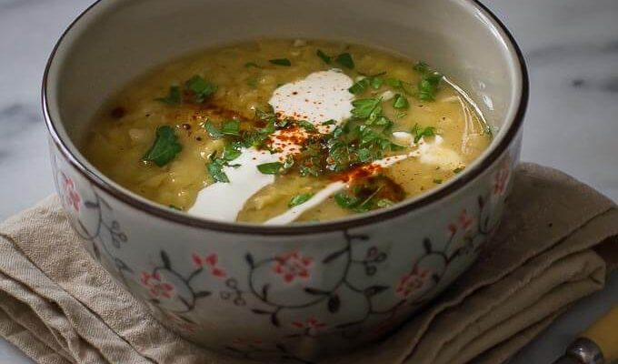 Vegan Red Lentil Soup, scented with coriander and smoky paprika