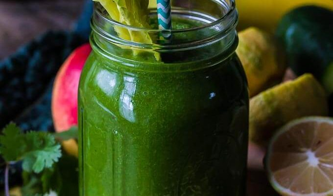 Get your greens with this low sugar green smoothie that will cleanse and detox your body in the most delicious way! This will become your go-to smoothie!