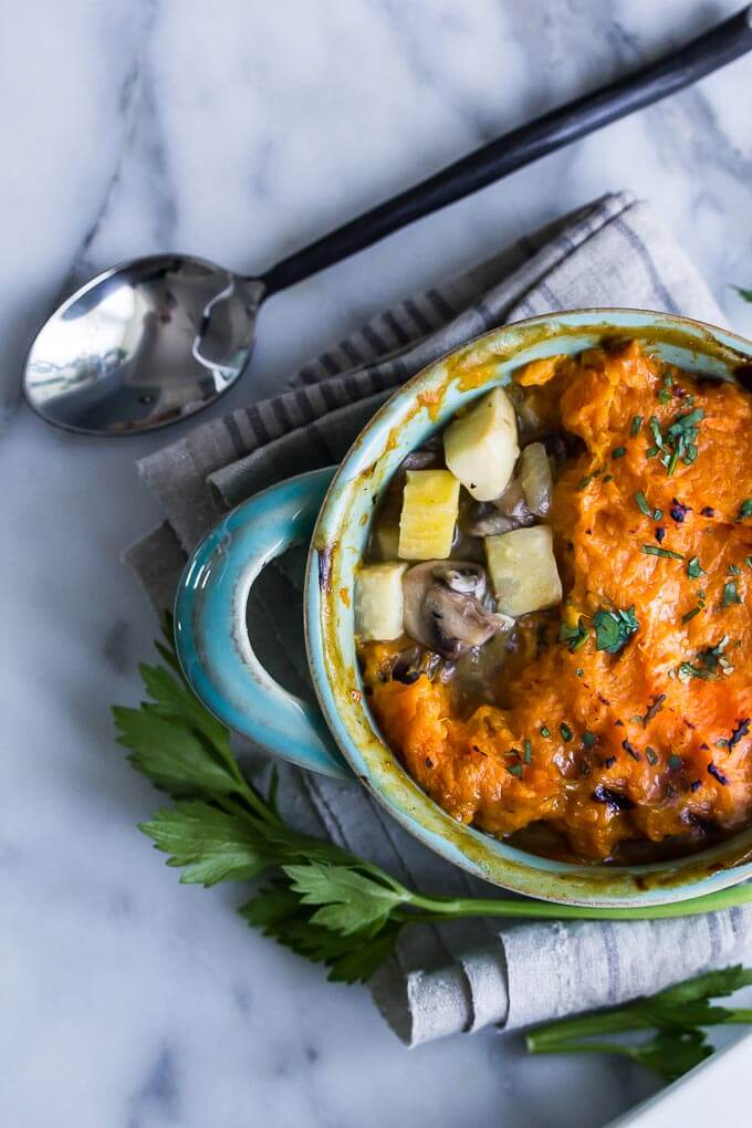 A warming vegan casserole like this is a good vehicle for root vegetables, made here with celery root, mushrooms and sweet potato. VEGAN SHEPHERDS' PIE!