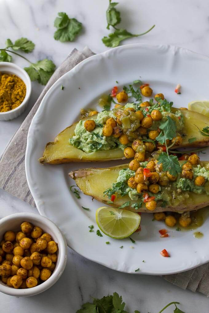 Curried Chickpea and avocado stuffed sweet potato make an easy and super nutritious vegan supper!