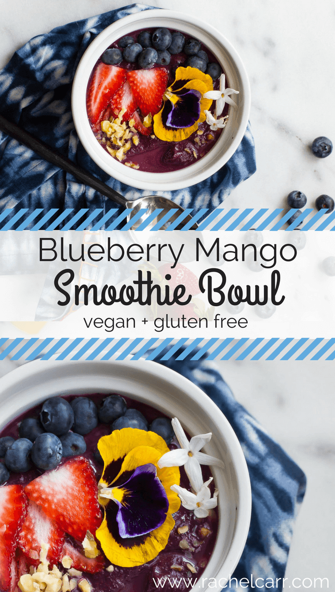 Smoothie bowls are one of the easiest options for a quick and healthy breakfast. All you need is some frozen fruit and your favorite raw toppings! Try this Blueberry Mango Protein Smoothie Bowl :)