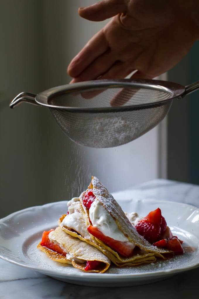 4 ingredient Vegan + gf berry crepe with coconut whipped cream