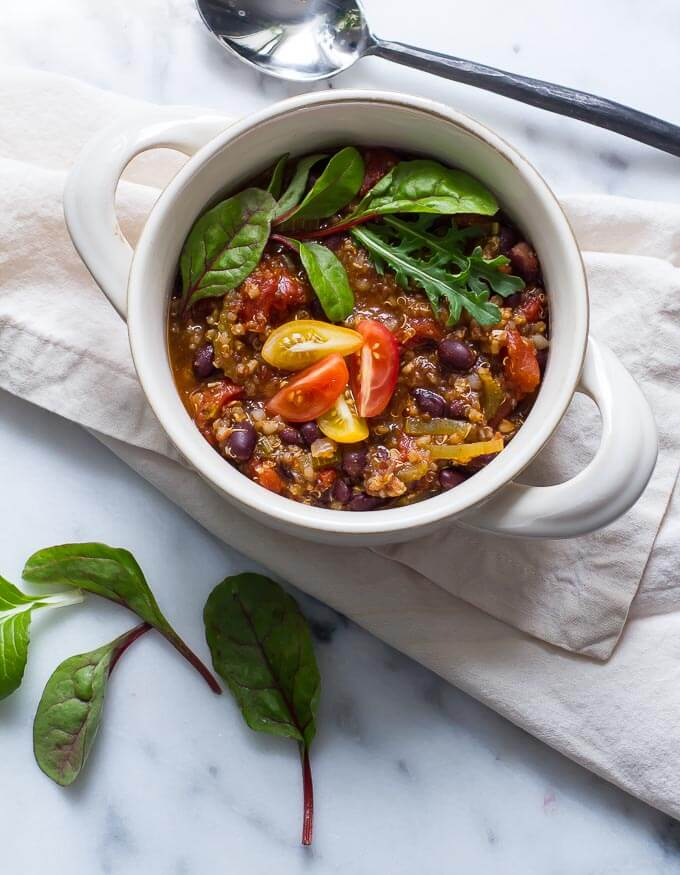 Vegan Black Bean Millet Chili is some of my favorite-so hearty and nutritious!