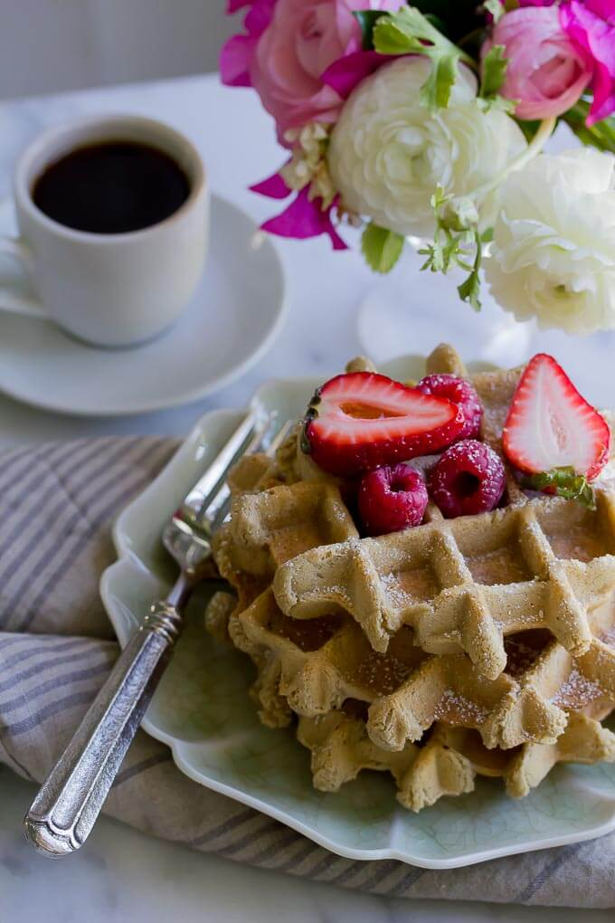 Allergen free and vegan easy oat waffles with homemade strawberry rhubarb chia jam makes a quick and delicious brunch!