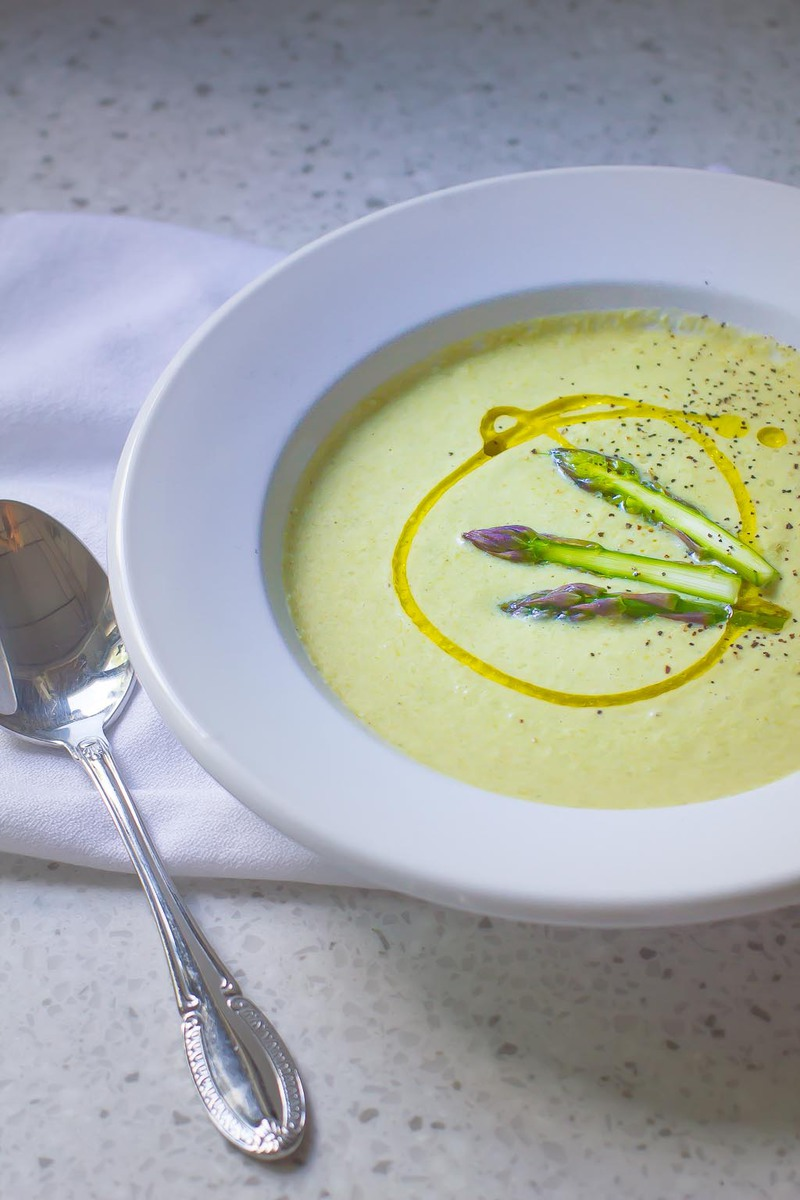 Light and creamy Cream of Asparagus Soup with almond milk and tarragon is a perfect spring time lunch.