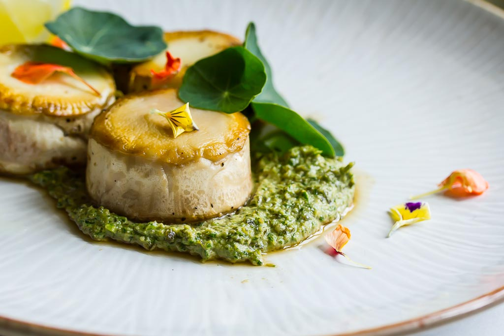 Vegan Mushroom Scallops with nasturtium and wakame pesto