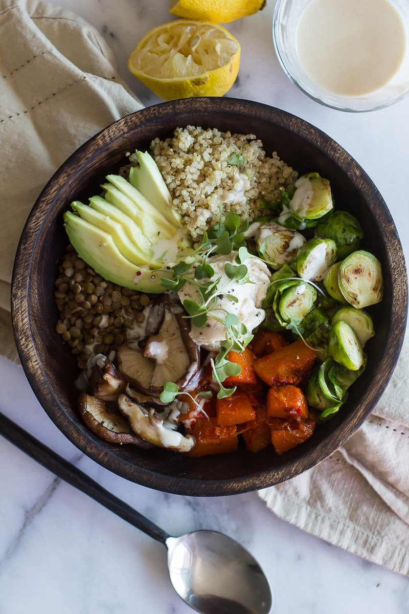 Harissa Glazed Winter Squash Buddha Bowl