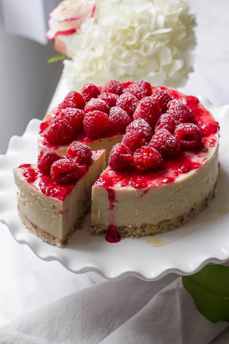 Decadent but healthy, Raspberry White Chocolate Cheesecake is dairy-free, gluten-free and raw vegan!