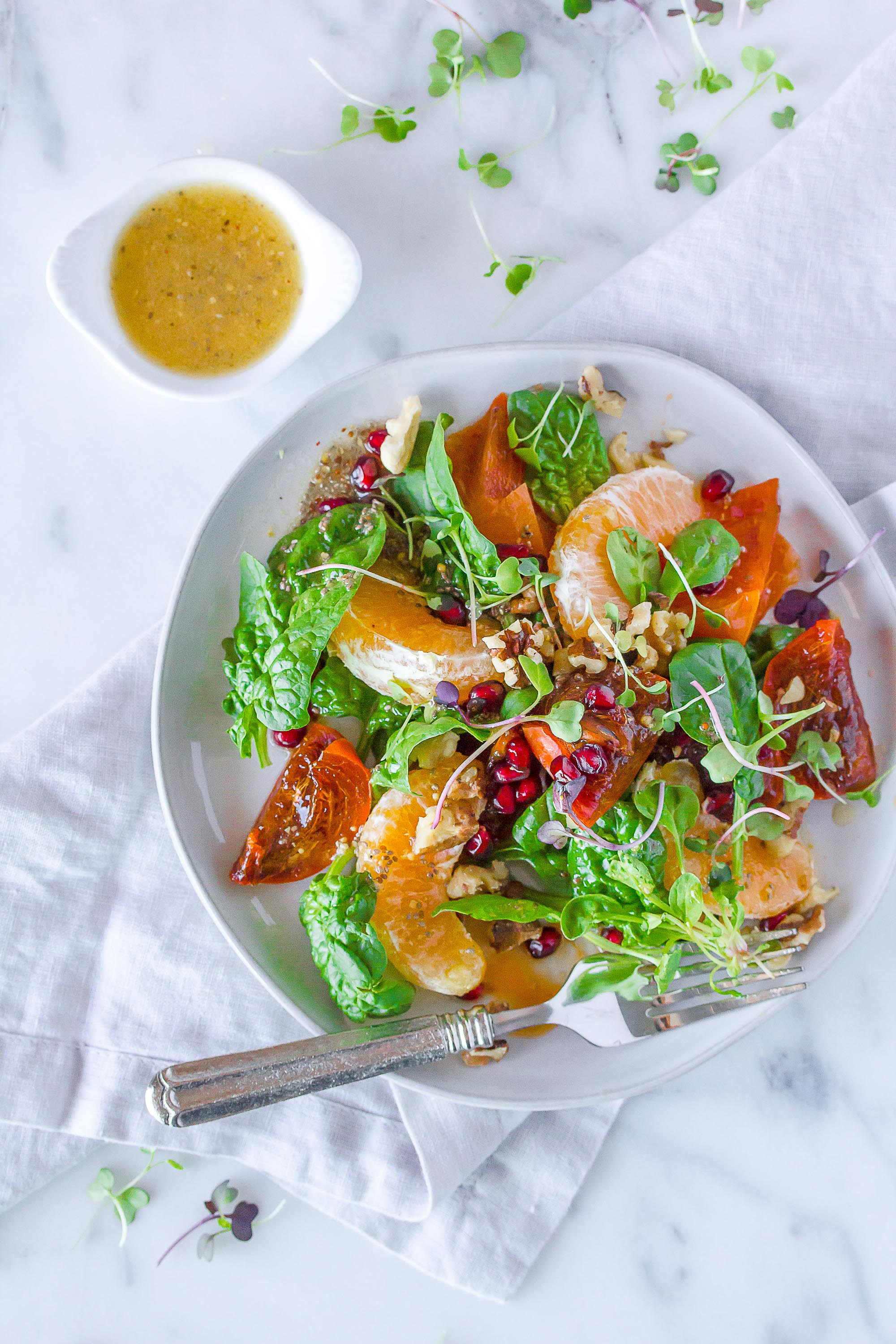 Persimmon, Pomegranate and Winter Citrus Salad with orange ginger dressing