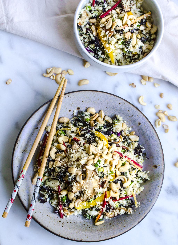 "Raw Vegan Cauliflower ""Fried Rice"" made with cauliflower, kale, cashews and mushrooms!"