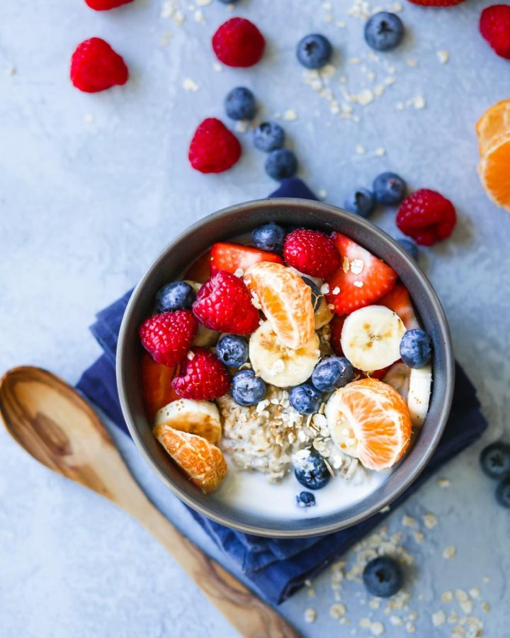 Almond Overnight Oats with fresh berries