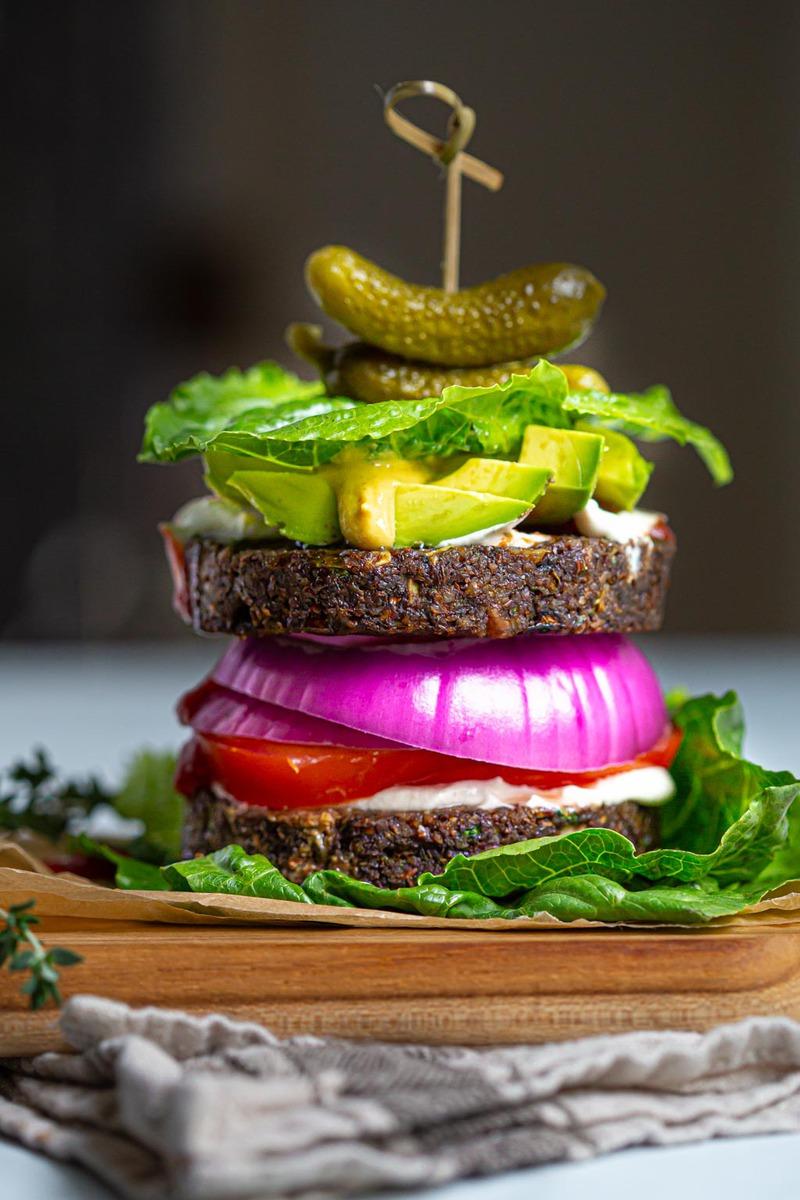 Raw Vegan Walnut and Portobello Burger